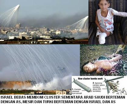 Bom Kluster Israel menghujani Ummat Islam di Palestina