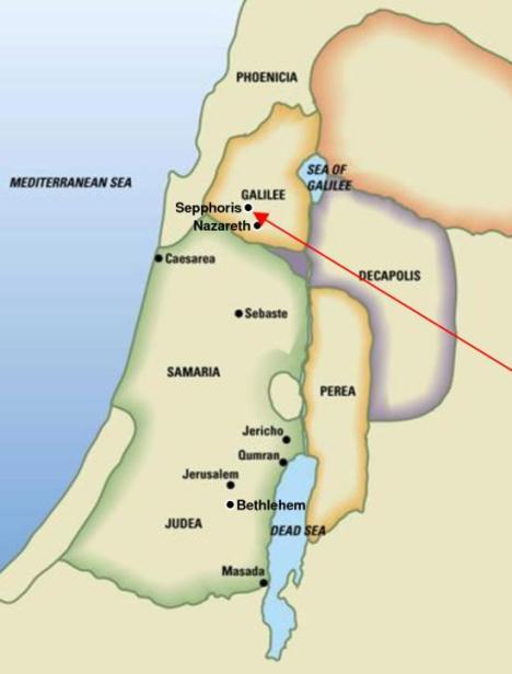Peta Betlehem dan Nazareth
