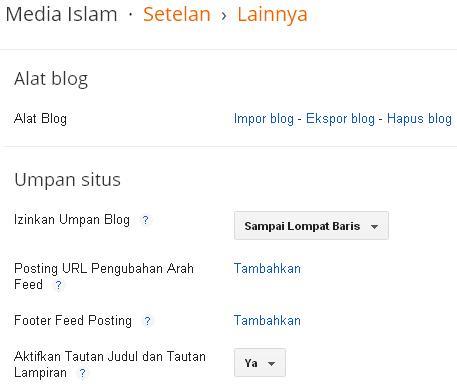 Setelan Blogspot